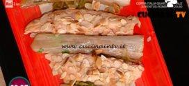 La Prova del Cuoco - Trota in crosta di mandorle con porro al prosciutto ricetta Daniele Persegani