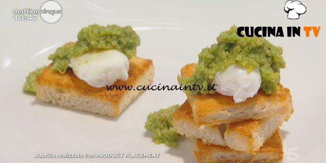 Mattino Cinque - ricetta Crostini con uova di quaglia in camicia di Samya