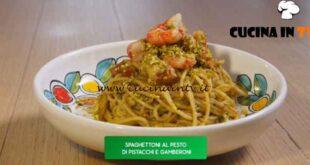 Giusina in cucina - ricetta Spaghettoni al pesto di pistacchi e gamberoni di Giusina Battaglia